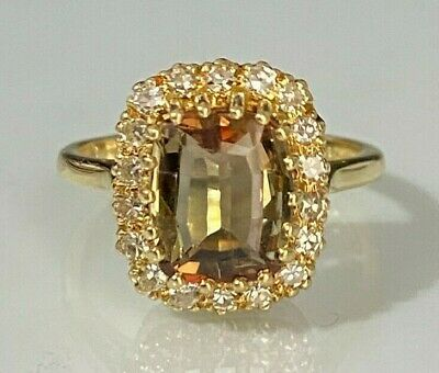 AU875 • Buy 18CT Solid Gold W/ Andalusite & Diamond Cluster Ring 4.58g Size N 1/2 -  6 3/4
