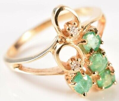 AU199.59 • Buy 14K Yellow Gold Open Loop Emerald Diamond Cluster Ring Size 6-1/4 (2.8g)