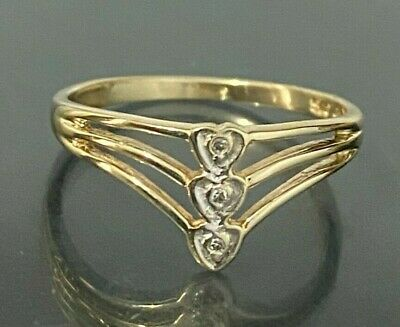 AU159 • Buy 9CT Solid Gold & Diamond Triple Heart Ring 1.73g Size P 1/2 -  7 3/4