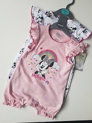 £7.50 • Buy Disney Minnie Mouse Baby Girl Rompers X2 Set For 6-9months NEW