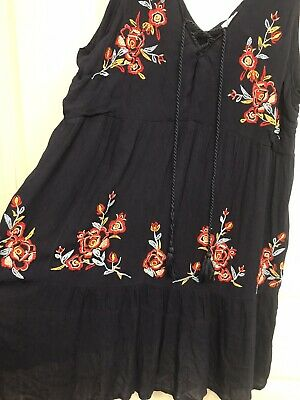 $ CDN62.24 • Buy Anthropologie Chickconnection JohnyYwaslikeFLORAL Embroidered DRESS Sz: Large