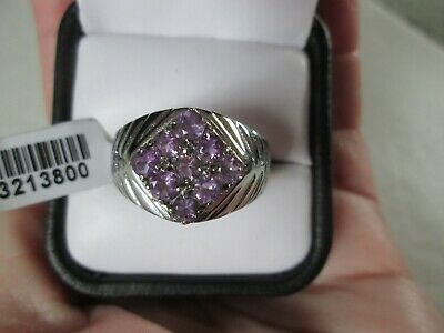 £20.75 • Buy Mens Bolivian Amethyst Stainless Steel Ring (Size 12) TGW 1.35 Cts.