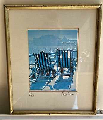 £45 • Buy Philip Dunn Numbered Framed Print Deckchairs And Brighton Pier 13/25