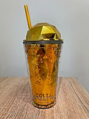 £10.99 • Buy Costa Coffee Gold Tumbler Insulated Glitter Cup With Straw Reusable Gift *New*