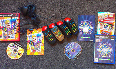 £18.95 • Buy Ps2 Games 'buzz! The Pop Quiz & Who Wants To Be A Millionaire' + 4 Wired Buzzers