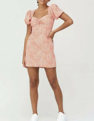 £15 • Buy River Island Dalmation  Spot  Coral Ruched Puff Sleeve Tea Dress - Size: UK 14