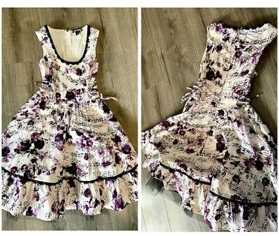 AU26.71 • Buy Hot Topic Dress With Tulle White With Purple Music Notes XS
