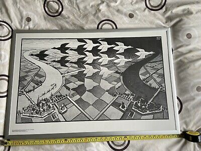 """$110.45 • Buy FRAMED M C Escher PRINT Direct On Board Day And Night 35"""" By 23"""""""