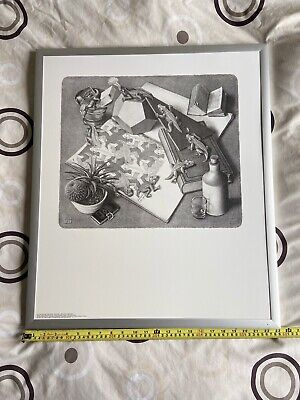 """$110.45 • Buy FRAMED M C Escher PRINT Direct On Board Reptiles 27"""" By 23"""""""
