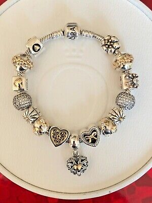 AU725 • Buy Stunning Genuine Pandora Bracelet With Silver And Gold Charms 19cm RRP $1780
