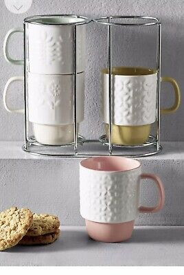 £19.99 • Buy Next Stacking Mugs Embossed Floral Stems Stoneware Coffee/tea 4 Cups Kitchen New