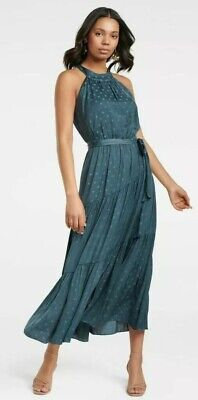 AU25 • Buy Forever New Blue Carlita Tiered High Neck Maxi Dress With Self Tie Size 6