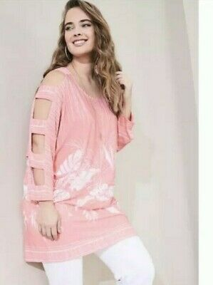 £17.99 • Buy BNWOT Kaleidoscope Cut Out Detail Print Cold Shoulder Tunic Top Coral Pink UK 16