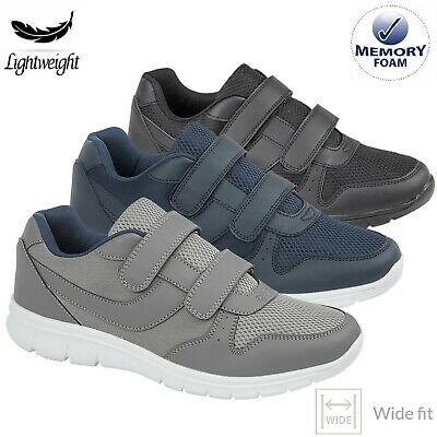 £14.99 • Buy Mens WIDE Fit Touch Fasten Lightweight Casual Shoes Memory Foam Trainers Size