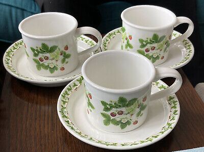 £20 • Buy 3 Lovely Portmeirion Summer Strawberries Cups And Saucers