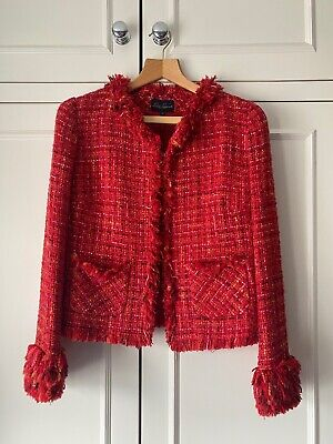 £180 • Buy Brand New With Tags Red Tweed Womens Jacket From Luisa Spagnoli Size 42 Rrp £495