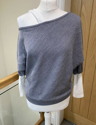 £1.20 • Buy Grey And White Off The Shoulder Summer Jumper Top Order Plus Size M 10-12