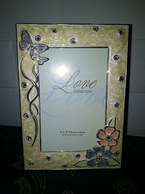 £4.99 • Buy A Lovely Ornate Enamel And Diamante Photo Frame With Butterflies By Juliana