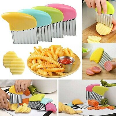 £2.98 • Buy Stainless Steel Potato Chip Salad Vegetable Wavy Crinkle Cutter Kitchen Tool UK