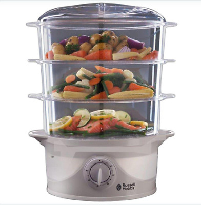 £49.99 • Buy Russell Hobbs N21140 800W 3-Tier Food Steamer  White FREE DELIVERY