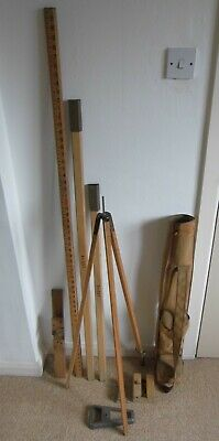 £54 • Buy Vintage Surveyors Wooden Tripod & Rods In Carry Case