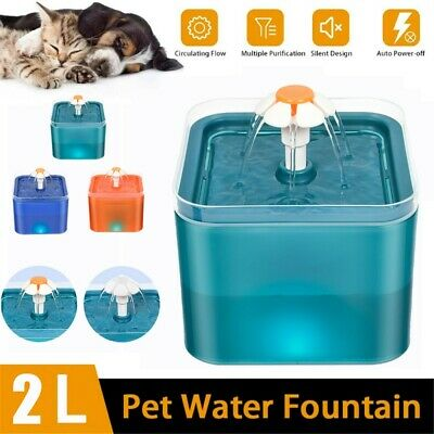 £14.98 • Buy 2L Electric Cat Dog Automatic Water Fountain Dispenser Pet Drinking Bowl Light
