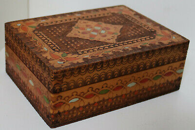 £15 • Buy Vintage Hand Made Marquetry Wooden Box Antique Trinket Jewellery Carved Chest 17