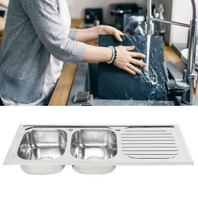 £105.87 • Buy Stainless Steel Inset Kitchen Sink Double 2 Bowl Reversible Drainer Topmount