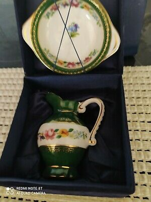 £12 • Buy The Regal Bone China Collection. Miniature JUG & Wash BOWL In GREEN WHITE Boxed.