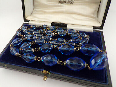 £48 • Buy Stunning Vintage Antique Art Deco Czech Glass Faceted Beaded Blue Long Necklace