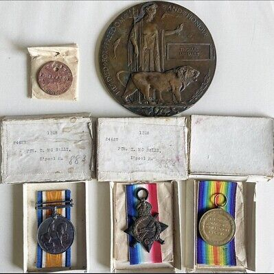 £295 • Buy Ww1 Trio Medals + Death Plaque PTE T MCNALLY LIVERPOOL Kings 17th Battalion+ Tag