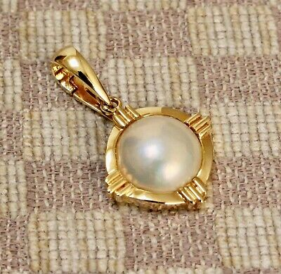 $495 • Buy NEW 14K YELLOW  GOLD 13mm MABE PEARL PENDANT ENHANCER (must See)