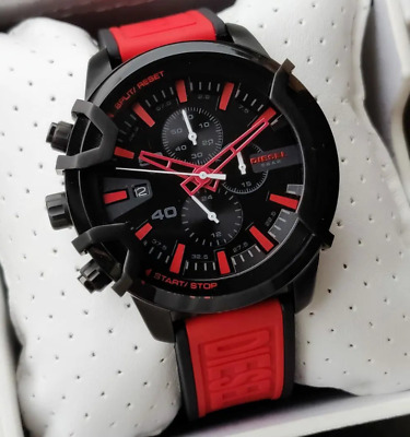 $99.99 • Buy Diesel Griffed Chronograph Red Silicone Men's Watch DZ4530