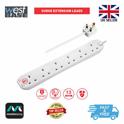 £14.29 • Buy Masterplug Srg6210n Surge Protected 2m 13a 6 Gang Socket Extension Lead White