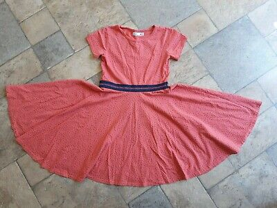 £4.99 • Buy Girls 8-9 M&Co Dress Coral With Navy Spots And Waist Detail