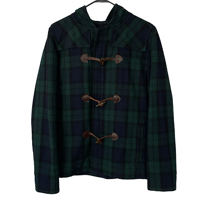 $68.97 • Buy $698 A.P.C. Men's Hooded Wool Duffle Coat Jacket Size Small Green Navy Plaid