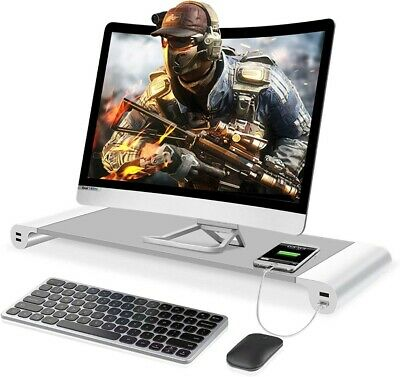 £12.99 • Buy Monitor Stand Riser Desk Monitor Stand With 4 USB 3.0 Charging Port Monitor