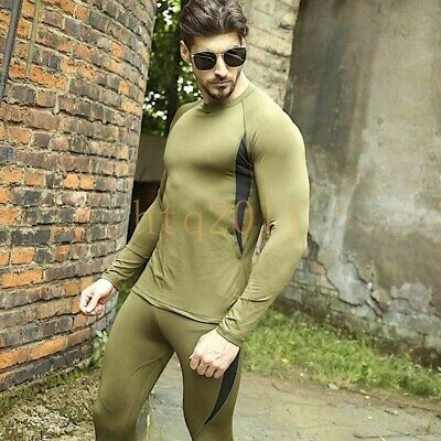 $35 • Buy Men Thermal Underwear Clothes Pullover Fleece Warm Brown Military T-shirt Sets