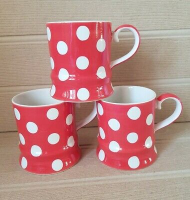 £19.99 • Buy Set Of 3 Whittard Of Chelsea  Florence Red & White Spotty Mugs Hand Painted