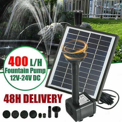 £27.98 • Buy 400L/H Solar Powered Fountain Submersible Water Pump Feature Garden Pool Pond UK
