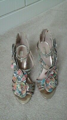 £30 • Buy Ladies Leather High Heeled Sandals Size 6 Multi Coloured