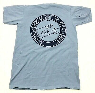 $28.77 • Buy VINTAGE Letter Carrier Shirt Size Medium Baby Blue Double Sided Tee NALC Mailman