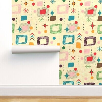 £55.80 • Buy Removable Water-Activated Wallpaper Mid Century Modern Retro Atomic 50S Mod