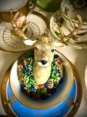 $157.50 • Buy Mackenzie-Childs Heirloom Deer/Stag Ornament Hand Painted Collectible Glass