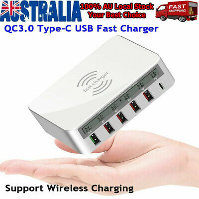 AU34.18 • Buy Fast Wireless Charger 6 USB Hub Charging Stand Station For Iphone 8 Plus X XR XS