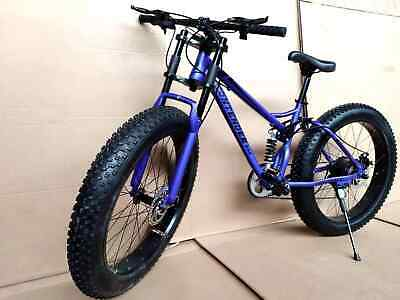 AU499 • Buy 26  Large Fat Tyre Bicycle Beach Mountain Bike Full Suspension 21 Speed