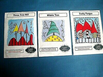 £9.95 • Buy 3 X Stamps Away Stamps Funky Fungus, Wibble Tree & Three Tree Hill