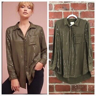 $ CDN14.24 • Buy Anthropologie Maeve Green Twill Sequin Embellished Button Down Top Size Small