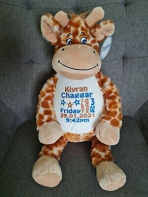 £25.95 • Buy Personalised Embroidered Giraffe Cuddly Toy Baby Gift Birthday