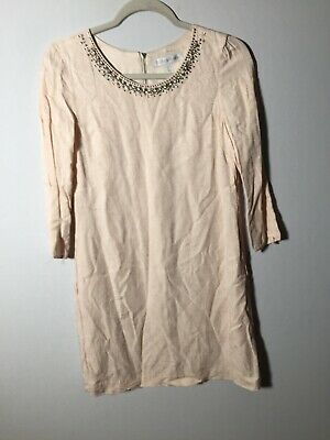 AU24.99 • Buy Forever New Womens Beige Beaded Shift Dress Size 8 3/4 Sleeves Viscose